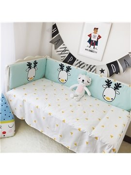 Yellow Triangles Printed Cotton Classic Style White Crib Sheet