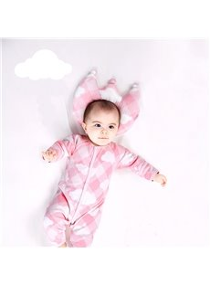 Prevent Flat Head Crown Shape Cotton Pink Baby Pillow