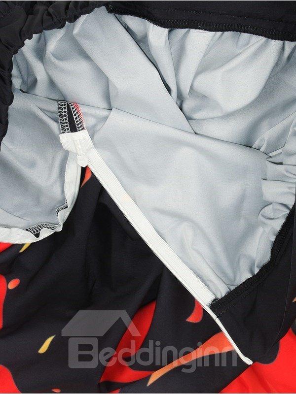 Sexy Fire Pattern Black Formal 3D Printing Skirt