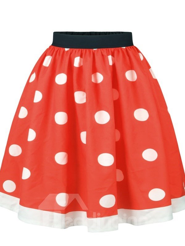 Red White Point Christmas Pattern Formal 3D Printing Skirt