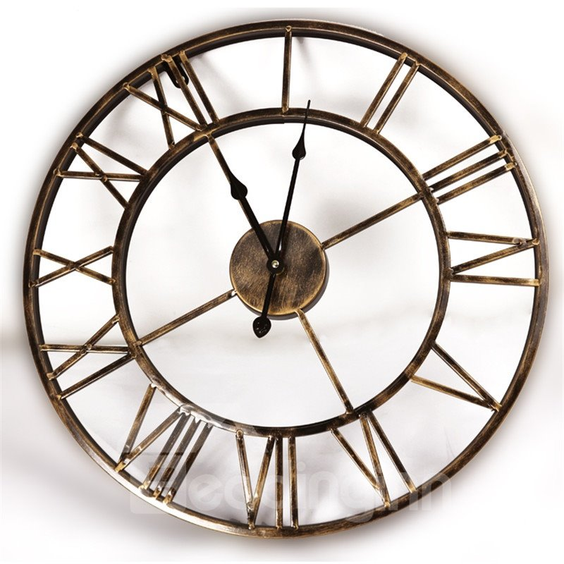 18in Golden Round Classic Style Battery Hanging Wall Clock