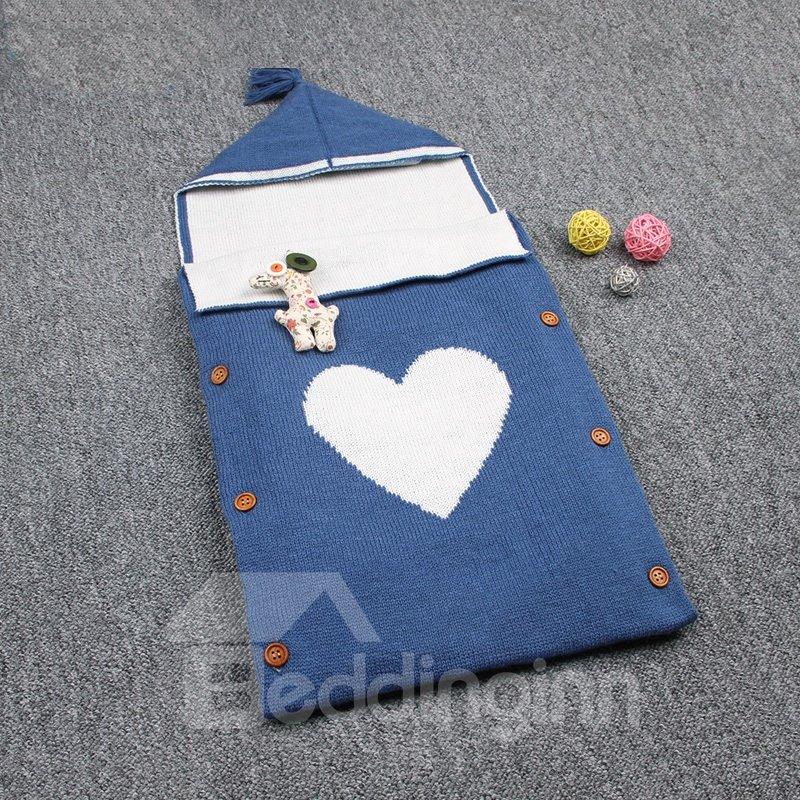 Simple Style Heart Shape Cotton 1-Piece Baby Sleeping Bag