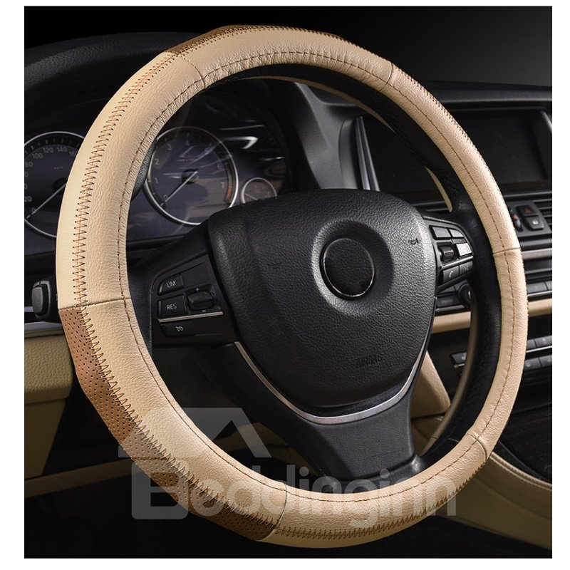 Extreme Comfort Casual Style Woven Leathers Design Steering Wheel Covers