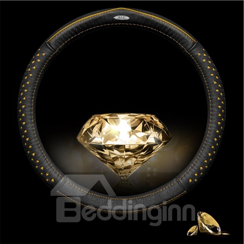 Luxurious Diamond Patterns Business Style Leather Steering Wheel Cover