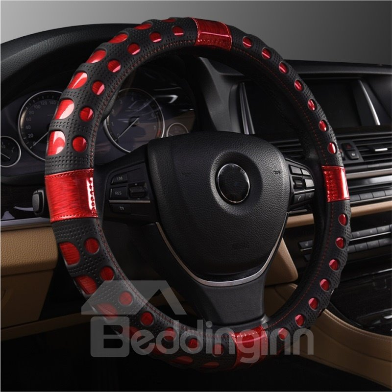 Trendy Sports Design Glossy Finish With Extra Grip Patterns Steering Wheel Cover