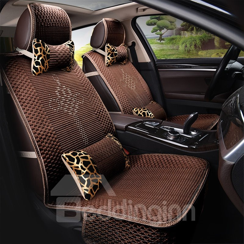 Cooling Vented Material Leopard Pattern Pillows Comfortable Universal Fit Car Seat Covers