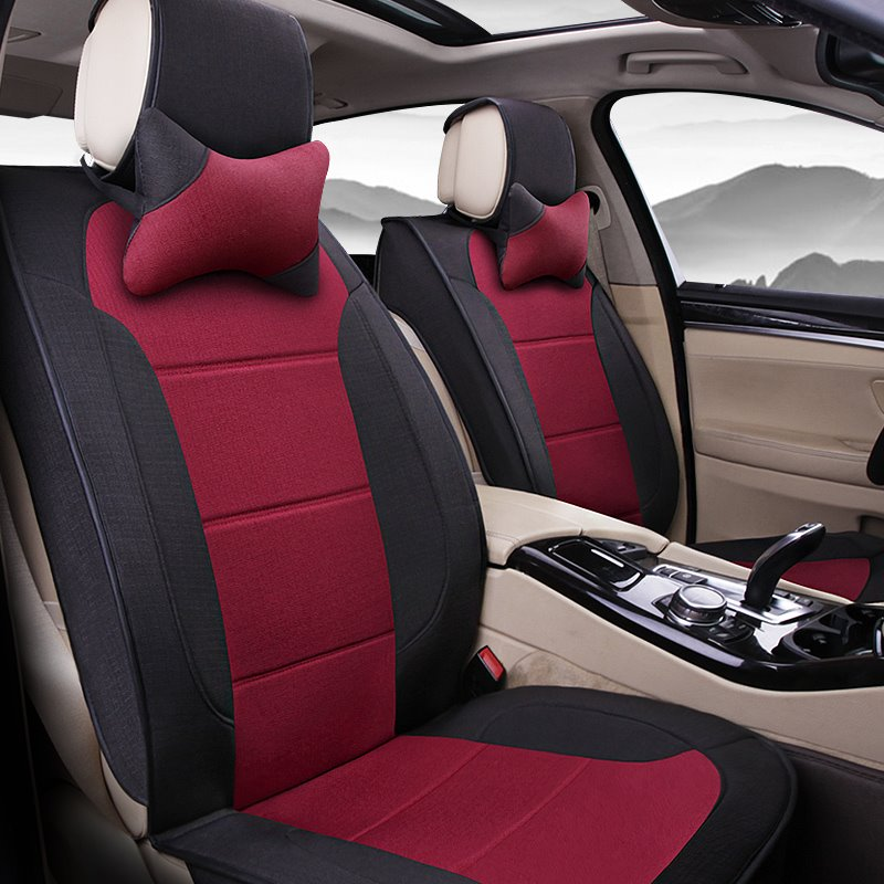 Extreme Comfort Design Plain Patterns Flax Material Universal Car Seat Covers