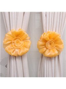 Decorative Exquisite Sheer Solid Lovely Flowers Korean Style One Pair Curtain Tie Backs