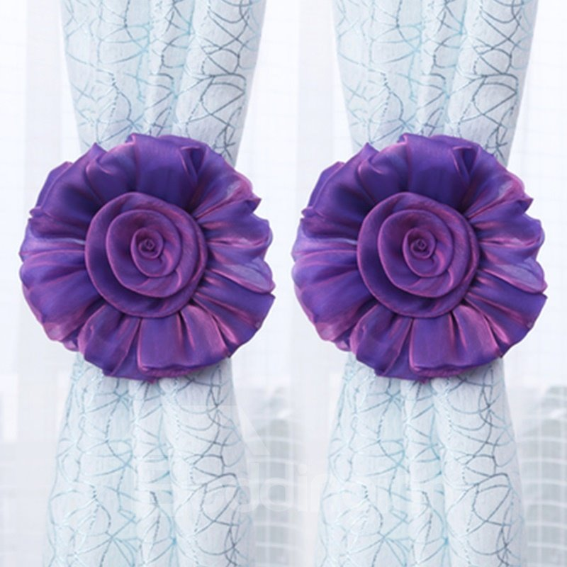 Decorative Exquisite Sheer Solid Lovely Flowers Sweet Style One Pair Curtain Tie Backs