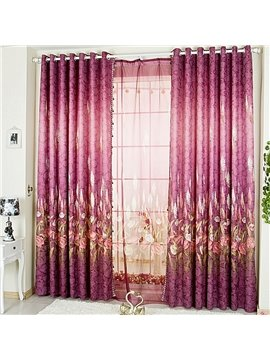 Decorative and Blackout Polyester Embroidered Plants and Flowers Royal Style Grommet Top Curtain