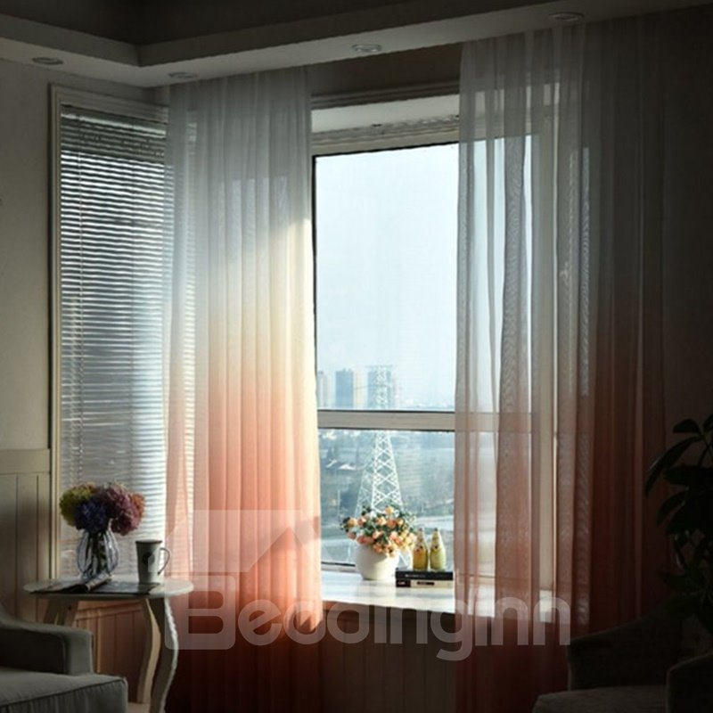 Blackout Polyester Gradient Sheer Modern Style 2 Panels Sheer Curtain and Drapes