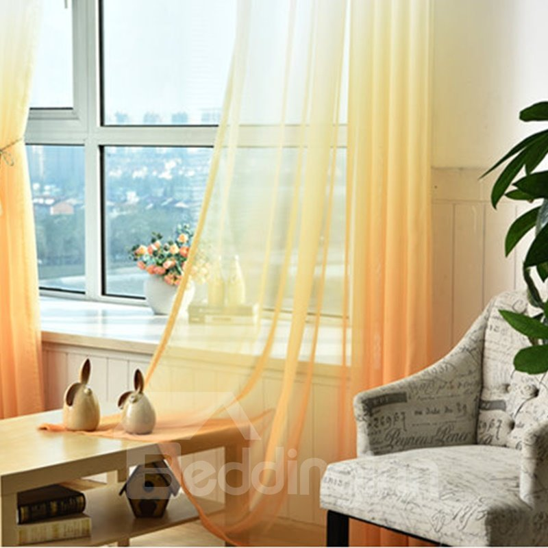 Decorative and Blackout Polyester Gradient Sheer Korean Style Sheer Curtain and Drapes