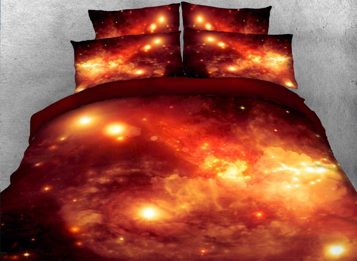 Vivilinen Nebula and Galaxy Printed Cotton 4-Piece Crimson 3D Bedding Sets/Duvet Covers