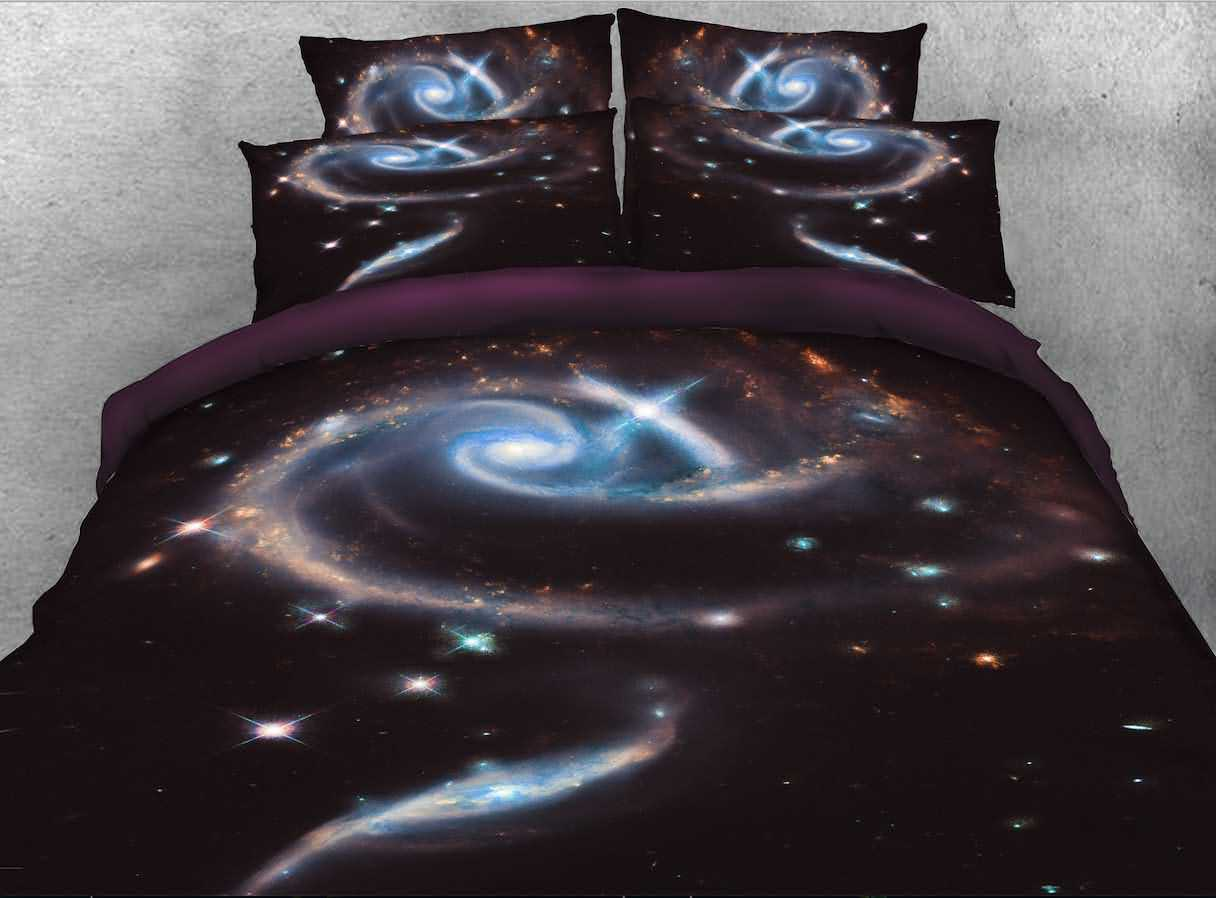Onlwe 3D Spiral Galaxy Printed Cotton 4-Piece Black Bedding Sets/Duvet Covers
