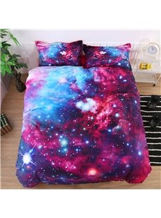 3D Stars and Multicolored Galaxy Printed Cotton 4-Piece Bedding Sets/Duvet Covers