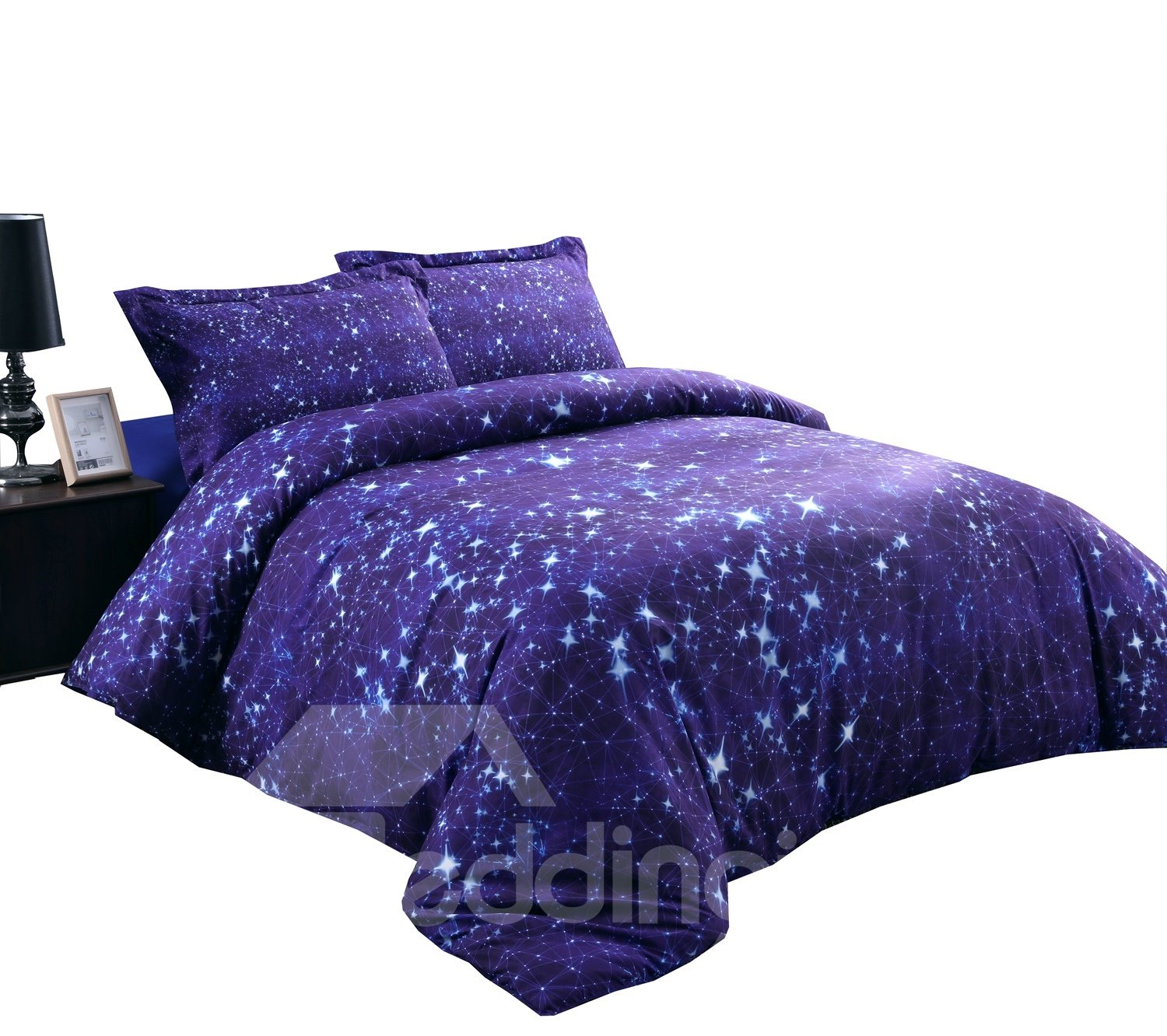 Twinkling Stars and Galaxy Printed 4-Piece 3D Blue Bedding Sets/Duvet Covers