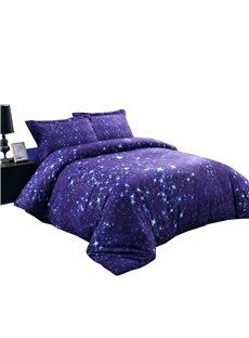 3D Twinkling Stars and Galaxy Printed Cotton 4-Piece Blue Bedding Sets/Duvet Covers