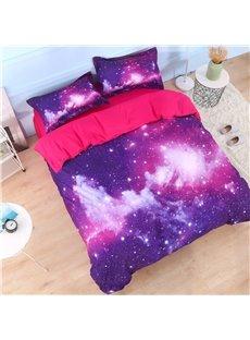 3D Galaxy Cluster Printed Cotton 4-Piece Purple Bedding Sets/Duvet Covers