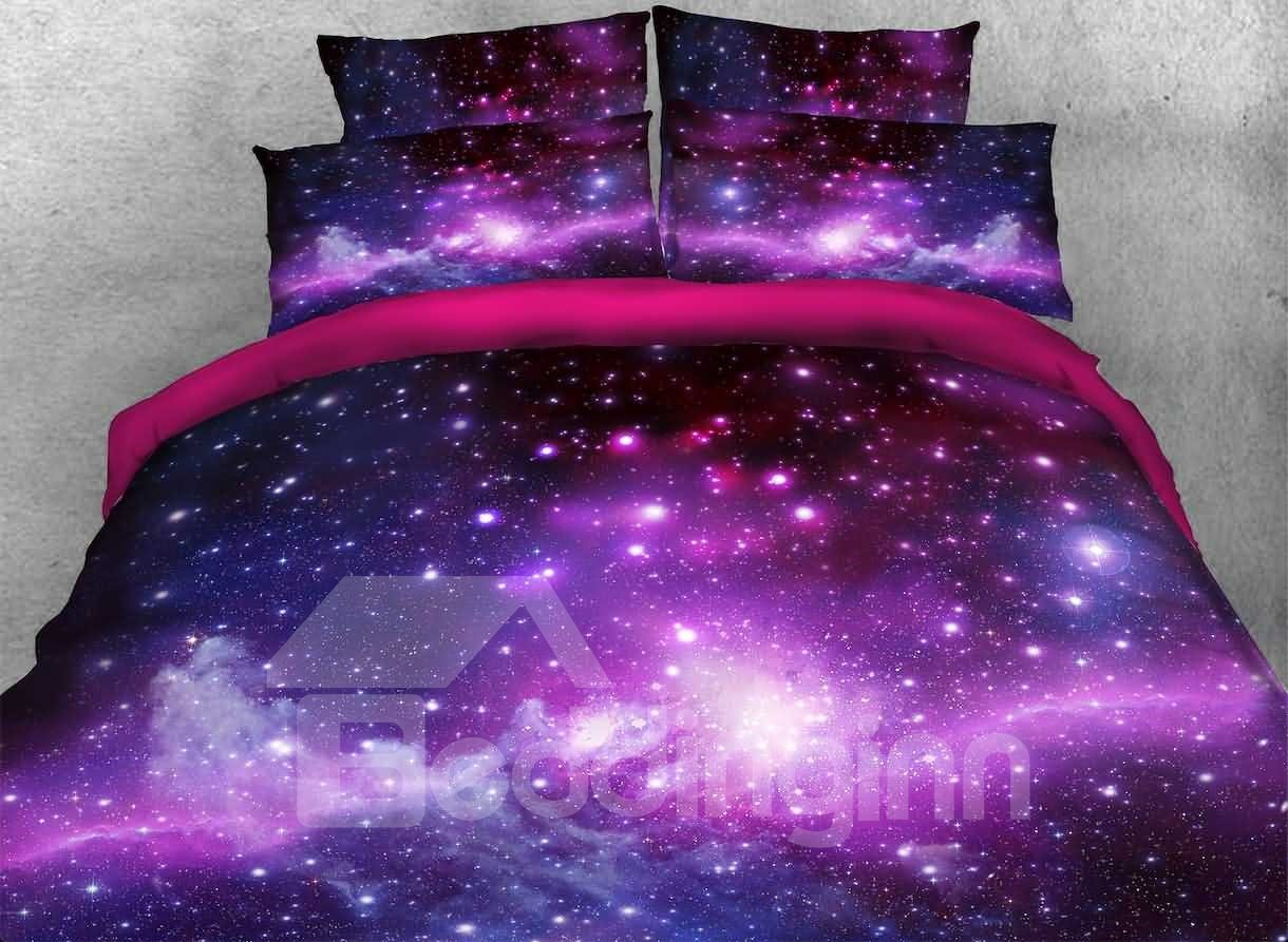 3D Galaxy Cluster Printed Cotton 4-Piece Purple Bedding Sets/Duvet Covers