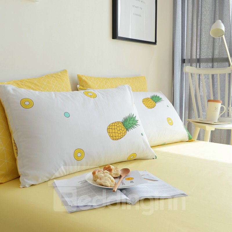 Pineapple Yellow Fresh Style Cotton 4-Piece Bedding Sets/Duvet Cover