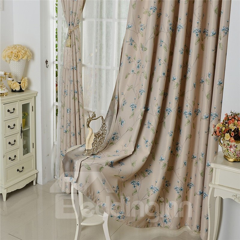 Blackout Polyester Peach Blossoms Printing Modern Style Champagne Color 2 Panels Curtian