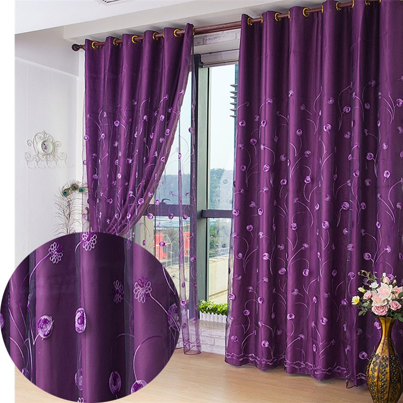 Blackout Thick Polyester Cotton Embroidered Flowers Noble Style Solid Purple 2 Panels Curtain Set