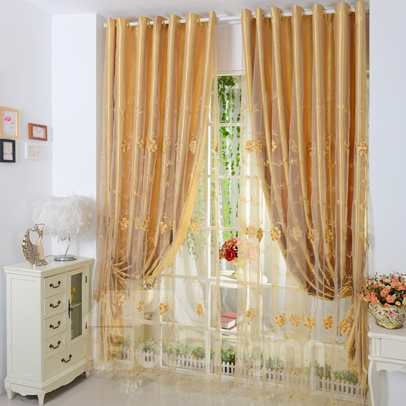 Decorative Polyester Embroidered Beautiful Small Flowers Printing European Style Shading Curtain Set
