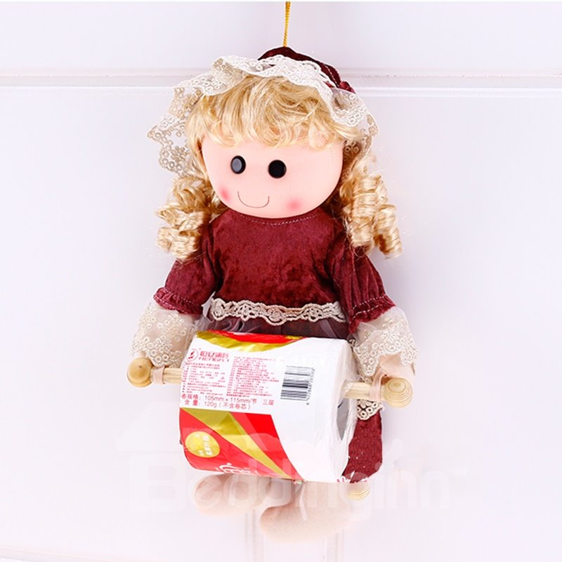 Creative and Lovely Polyester Doll One Paper and Tower Holder