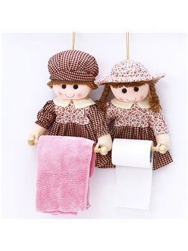 Creative and Beautiful Polyester Dolls One Pair Paper and Tower Holders