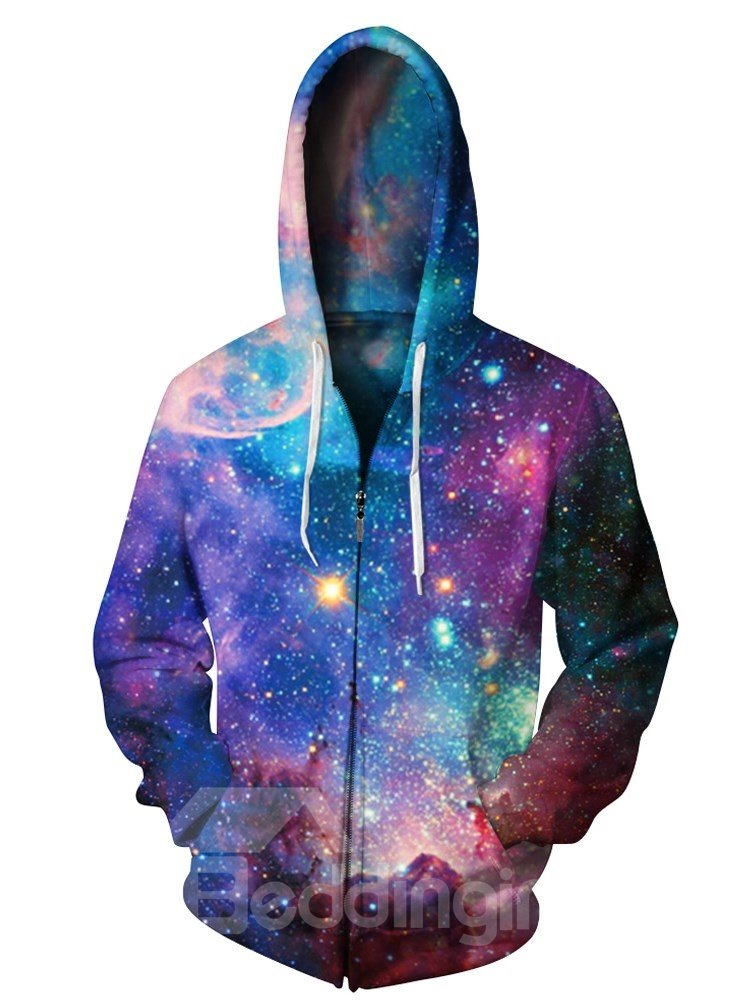 3D Star Sky Print Cool Hoodies Galaxy Pockets Zipper Jacket