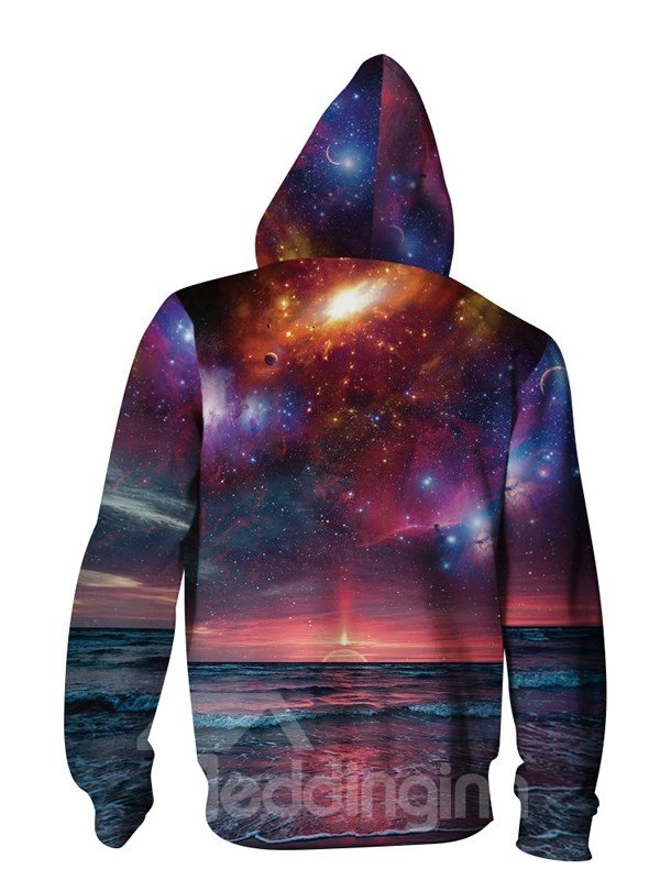 3D Sunset Beach Sea Print Galaxy Jacket Pockets Zipper Cool Hoodies