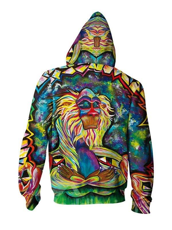 Unique Long Sleeve Big Monkey Apes Pattern 3D Painted Hoodies