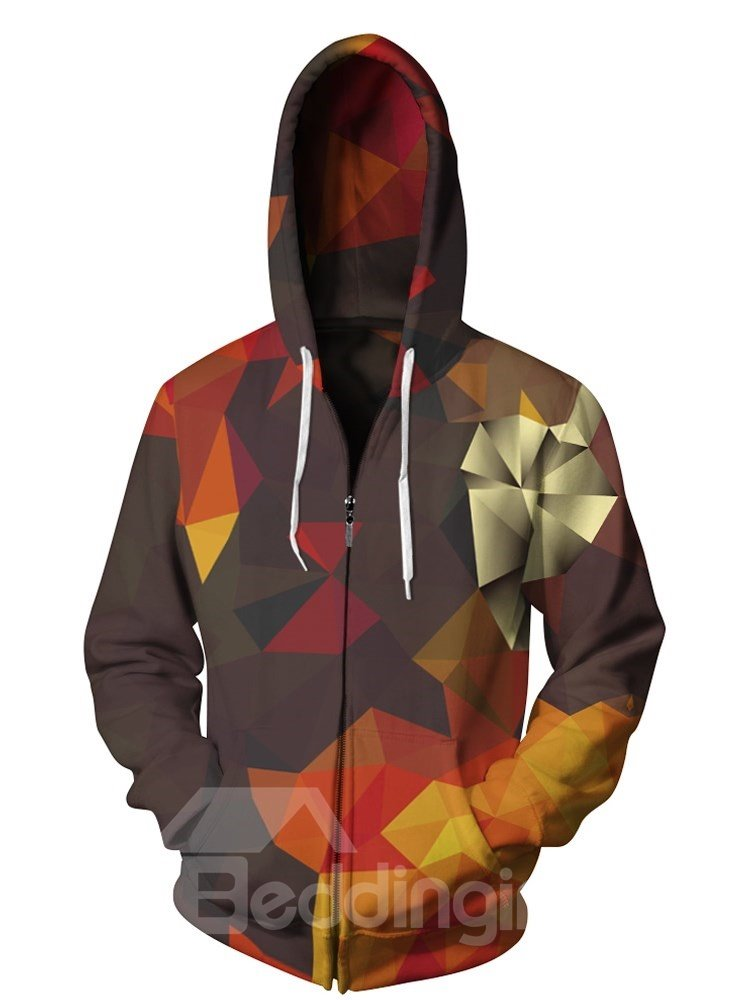 3D Print Big Pockets Chunk Colorful Zipper Hoodies