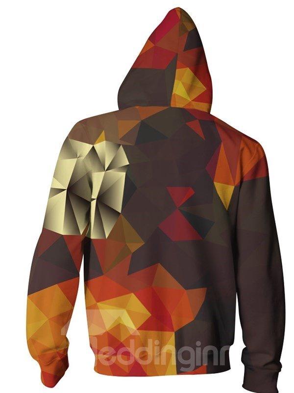3D Print Big Pockets Chunk Colorful Zipper Hoodies