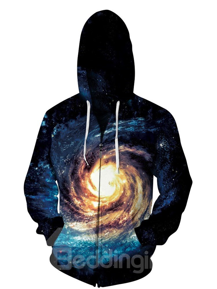 3D Swirling Galaxy Print Jacket Pockets Zipper Cool Hoodies