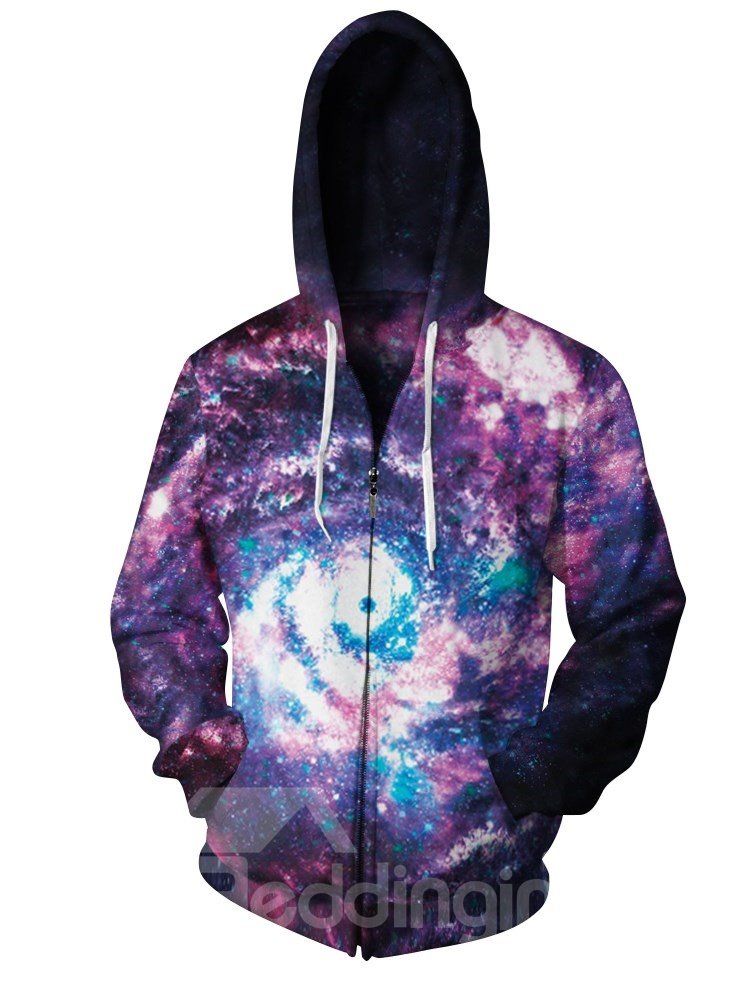 3D Print Big Cool Hoodies Purple Pockets Zipper Galaxy Jacket