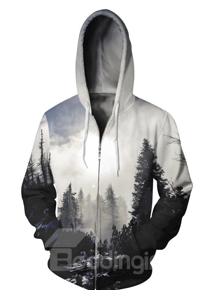 3D Fog Forest Cloudy Print Big Pockets Zipper Hoodies
