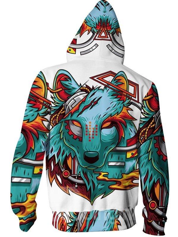 3D Print Big Violence Wolf Pockets Zipper Hoodies