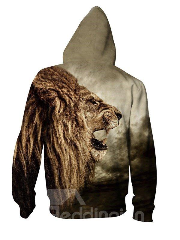 3D Lion Roar Face Print Big Pockets Zipper Hoodies