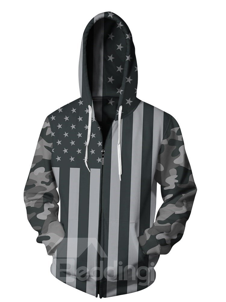 3D Black American Flag Print Cool Hoodies Pockets Zipper Jacket