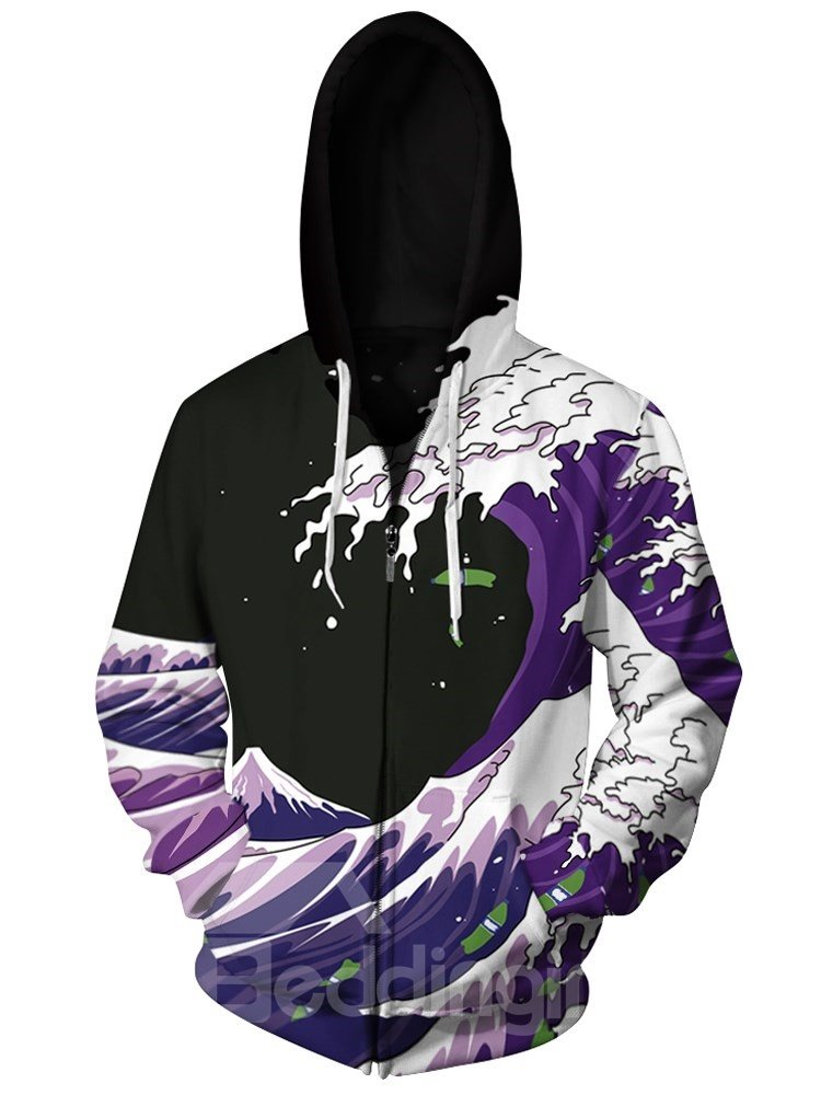 Sea Waves Purple 3D Print Big Pockets Zipper Hoodies