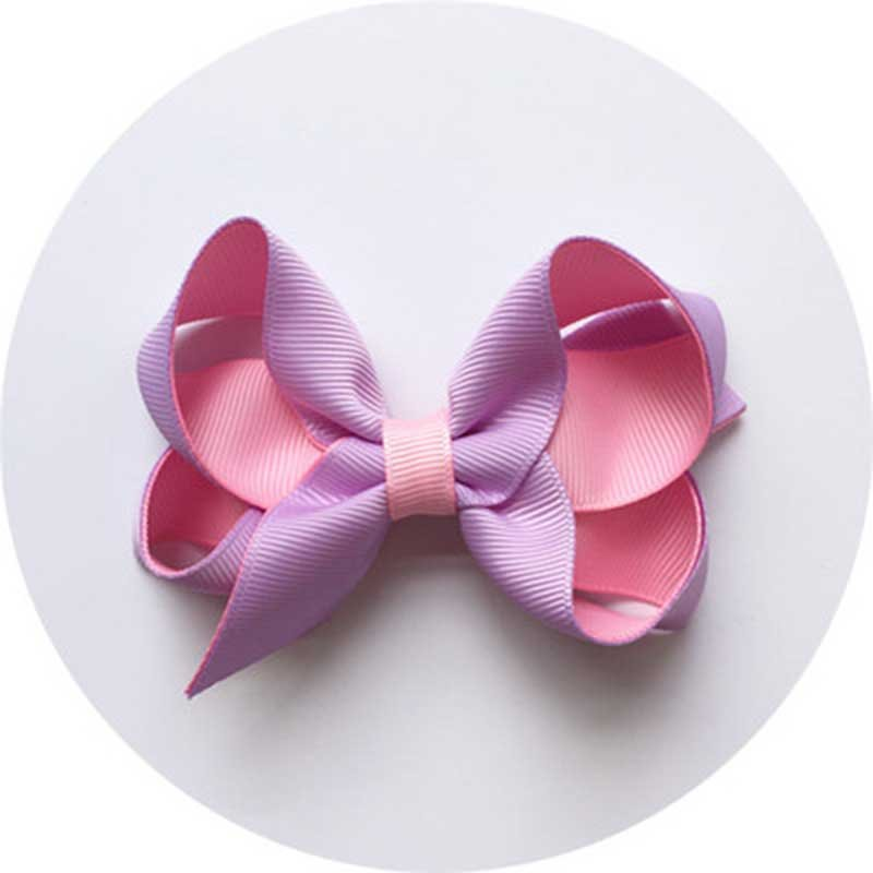 Contrast Color Handmade Ribbon Bow Tie Hair Clips