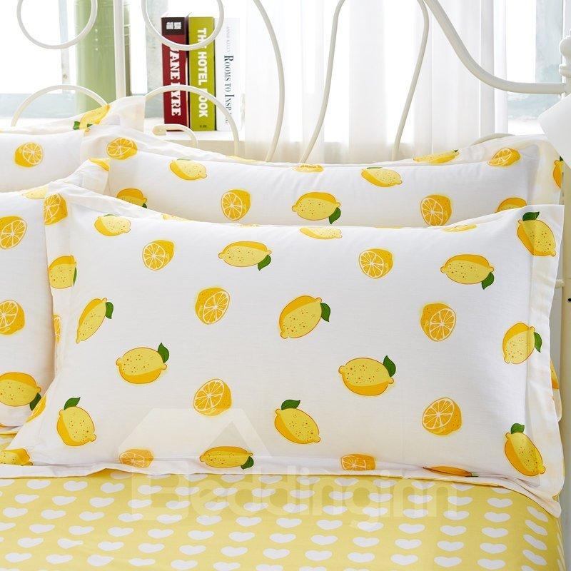Yellow Lemon Fresh Style Cotton 4-Piece Bedding Sets/Duvet Cover