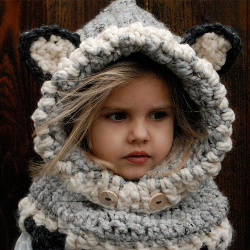 Cute Fox Ears Design Kids Winter Crochet Knitted Hat and Scarves