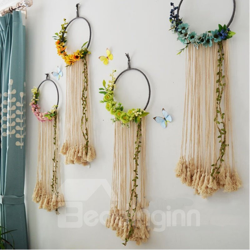 Decorative Cotton Thread Hand Knitting Flowers and Tassels Pastoral Style Home Decoration