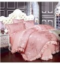 Luxury Style Flowers Jacquard Solid Pink 6-Piece Cotton Sateen Bedding Sets/Duvet Cover
