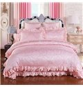 Solid Pink Rose Pattern Luxury Style 6-Piece Cotton Sateen Bedding Sets/Duvet Cover