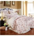 Floral Pattern Pastoral Style Beige 6-Piece Cotton Sateen Bedding Sets/Duvet Cover