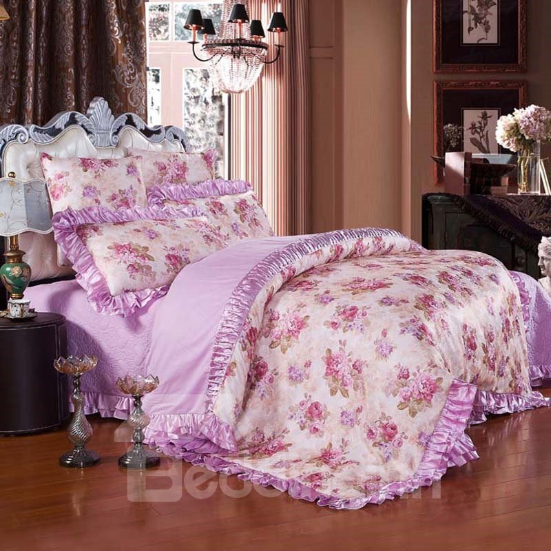 Purple Peonies Pattern Princess Style 6-Piece Cotton Sateen Bedding Sets/Duvet Cover