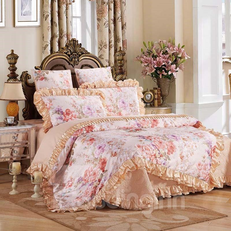 Peonies Blossom Princess Style 6-Piece Cotton Sateen Bedding Sets/Duvet Cover